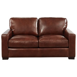 Contemporary Leather Loveseat with Extra Deep Seats