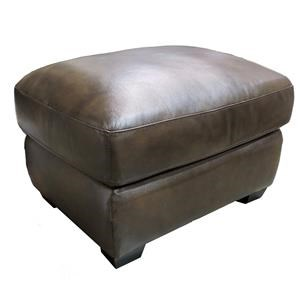 Leather Italia USA Woodburn Contemporary Ottoman