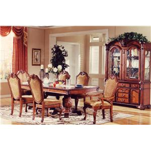 TBL005 7-Piece Traditional Warm Walnut Dining Table, Arm Chair, & Side Chair Set by Lee Furniture