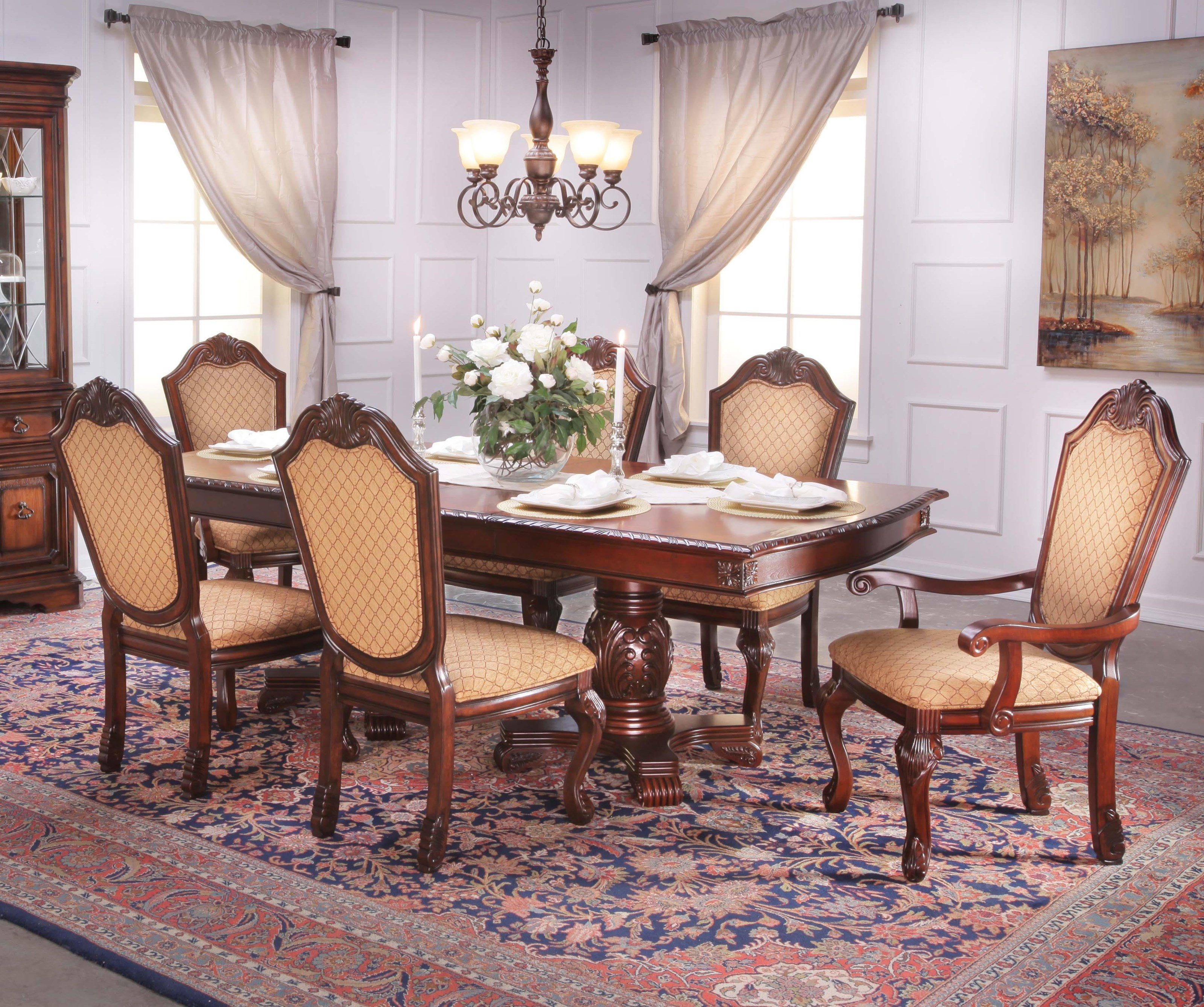 lee furniture tbl005 7 piece traditional warm walnut dining table