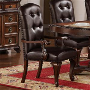 TBL258 Traditional Dining Arm Chair with Brown Faux Leather Upholstery by Lee Furniture