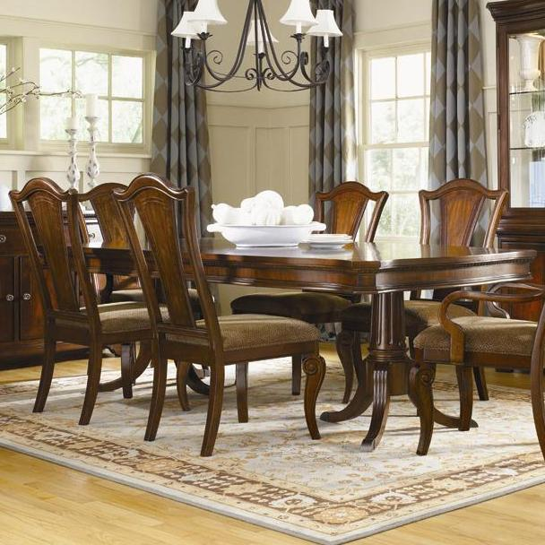 American Traditions 5-Piece Double Pedestal Table Set by Legacy Classic at Pilgrim Furniture City