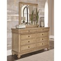 Legacy Classic Ashby Woods 8 Drawer Dresser and Mirror with Felt Lined Top Drawers