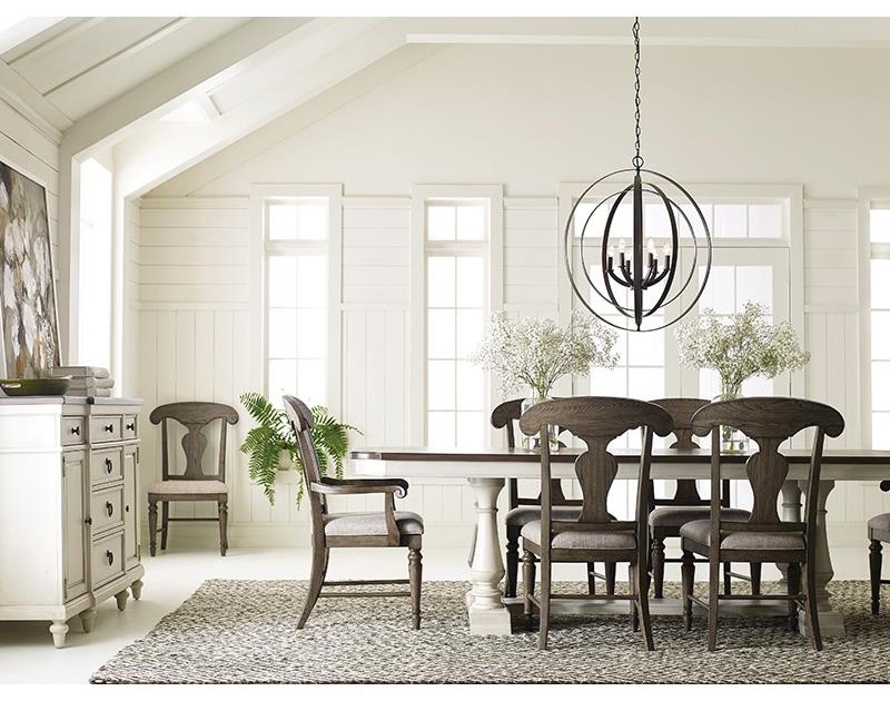 5 Piece Dining Set With Trestle Table and 4