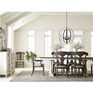 5 Piece Dining Set With Trestle Table and 4 Side Chairs