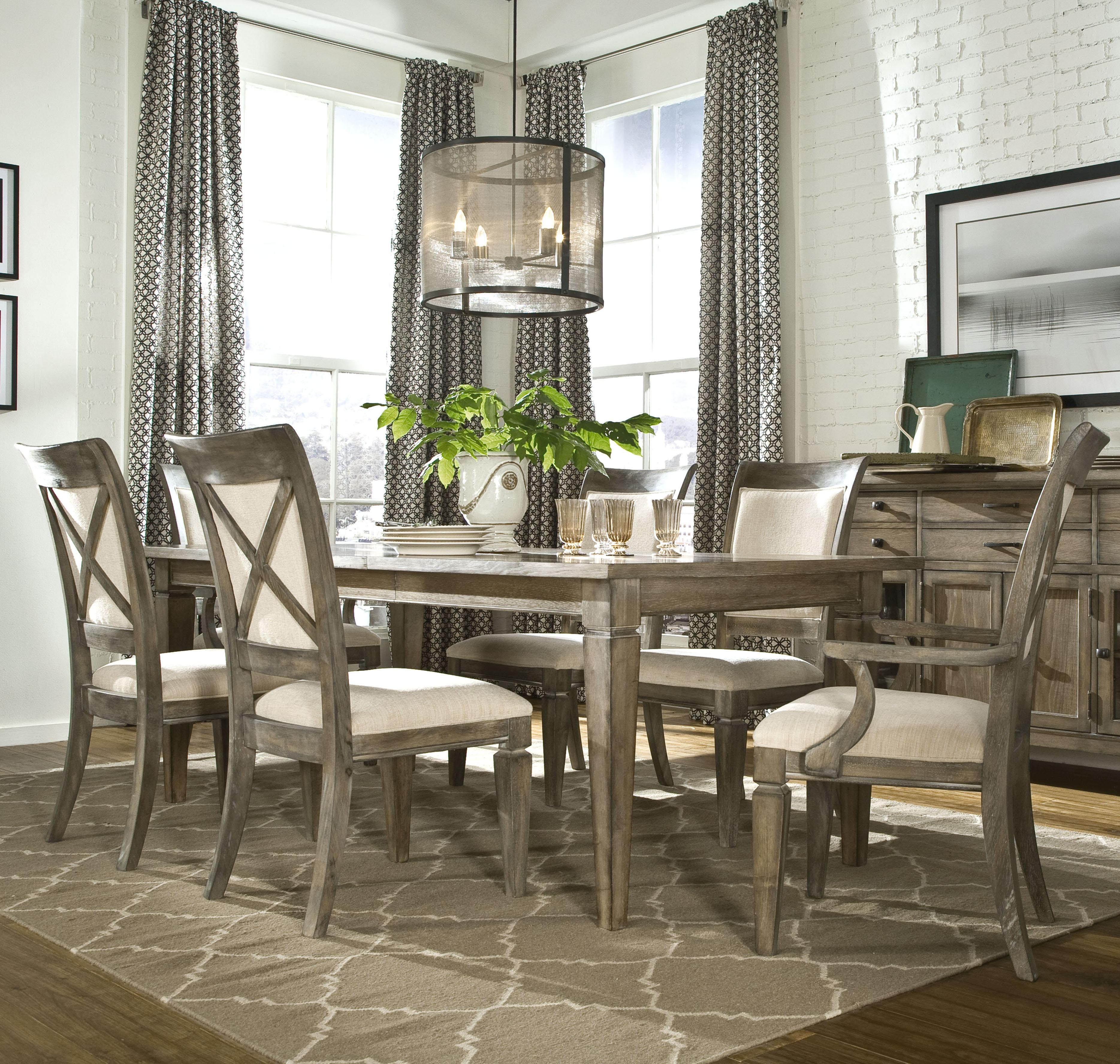 Legacy Classic Brownstone Village 7-Piece Leg Dining Table and Chair Set - Item Number: 2760-121+2x141 KD+4x140 KD