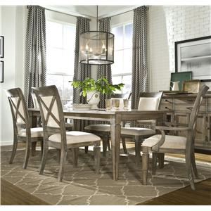 Legacy Classic Brownstone Village 7-Piece Leg Dining Table and Chair Set