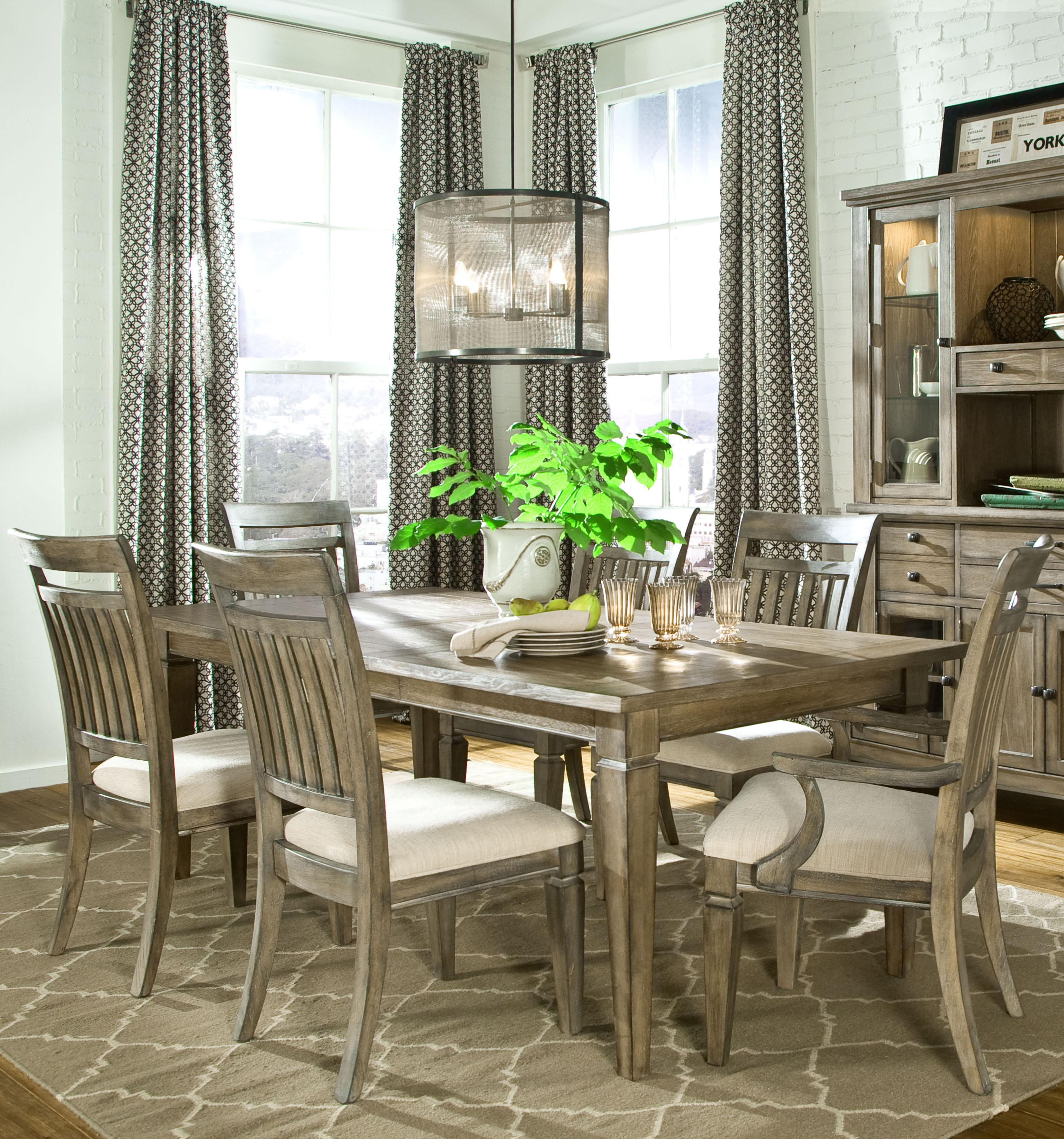Legacy Classic Brownstone Village 7 Piece Dining Set With Rectangular Leg Table Slat Back Side Chairs And Arm