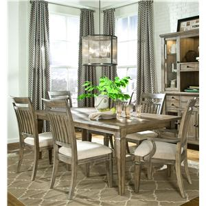 Legacy Classic Brownstone Village 7-Piece Leg Table and Slat Back Chairs Set
