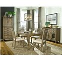 Legacy Classic Brownstone Village 5-Piece Dining Set with Leg Table and Slat Back Side Chairs - Shown with Pantry Cabinet and Credenza
