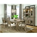 Legacy Classic Brownstone Village Slat Back Dining Arm Chair with Fabric Upholstered Seat - 2760-341 KD - Shown with Leg Dining Table, Slat Back Side Chair, Credenza and Hutch
