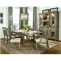 Legacy Classic Brownstone Village Slat Back Dining Arm Chair with Fabric Upholstered Seat - 2760-341 KD - Shown with Trestle Dining Table, Slat Back Side Chair, Credenza and Hutch