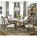 Legacy Classic Brownstone Village 7-Piece Dining Set with Trestle Table with 2 14-Inch Leaves, Upholstered Side Chairs and Upholstered Arm Chairs - 2760-422K+2x141 KD+4x140 KD