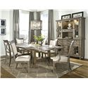 Legacy Classic Brownstone Village 7-Piece Dining Set with Trestle Table with 2 14-Inch Leaves, Upholstered Side Chairs and Upholstered Arm Chairs - 2760-422K+2x141 KD+4x140 KD - Shown with Credenza and Hutch