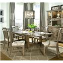 Legacy Classic Brownstone Village 7-Piece Dining Set with Trestle Table with 2 14-Inch Extension Leaves, Slat Back Arm Chairs and Slat Back Side Chairs - 2760-422K+2x341 KD+4x340 KD