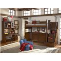 Legacy Classic Kids Dawsons Ridge 3-Drawer Desk with Power Strip, Lift Lid and Wire Mesh Door Hutch - Shown with Chair, Twin Loft Bed, Dresser and Stair & Handrail Storage Pedestal