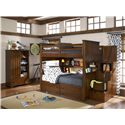 Legacy Classic Kids Dawson's Ridge Bunk/Loft Steps & Hand Rail - Shown with Bookcase Locker, Full-over-Full Bunk, Bunk Bookcase Unit and 4-Drawer Underbed Storage Unit