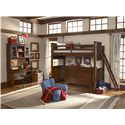 Legacy Classic Kids Dawsons Ridge Twin Size Loft Bed with Ladder - Shown with Desk & Hutch, Chair and Dresser