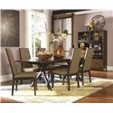 Legacy Classic Kateri 7 Piece Rectangular Table with Trestle Bottom and Upholstered Chairs Set