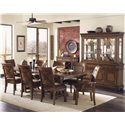 Legacy Classic Larkspur Rectangular Trestle Table with Flatware Storage - Shown with Upholstered Chairs & China Cabinet