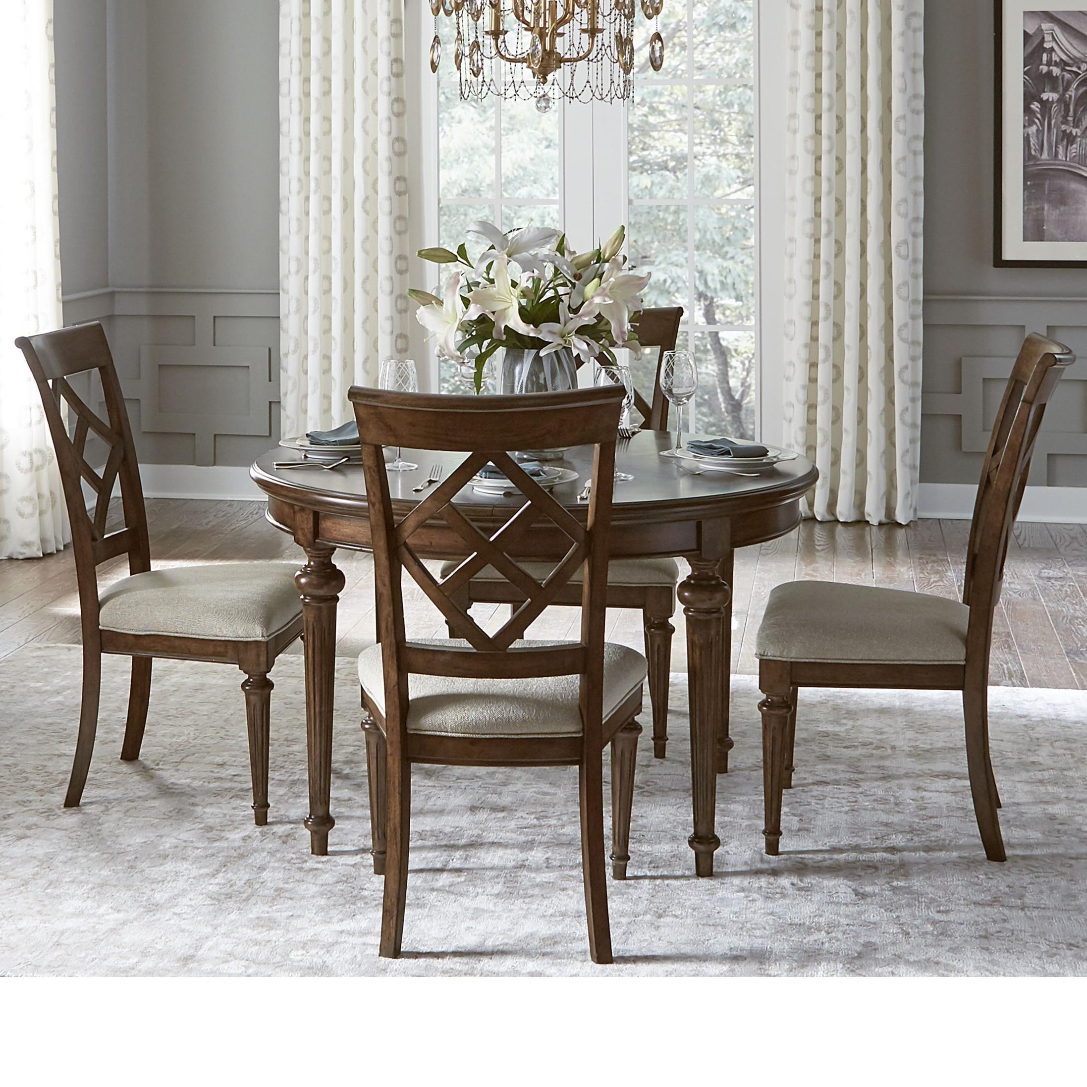 Legacy classic latham 5 piece dining set with round table for John v schultz dining room table