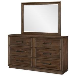 Rustic Dresser and Beveled Mirror Set