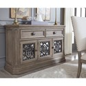 Legacy Classic Manor House Relaxed Vintage Dining Credenza with Wine Storage and Marble Top