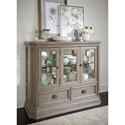 Legacy Classic Manor House Relaxed Vintage Display Cabinet with Antique Mirror Back and LED Lighting