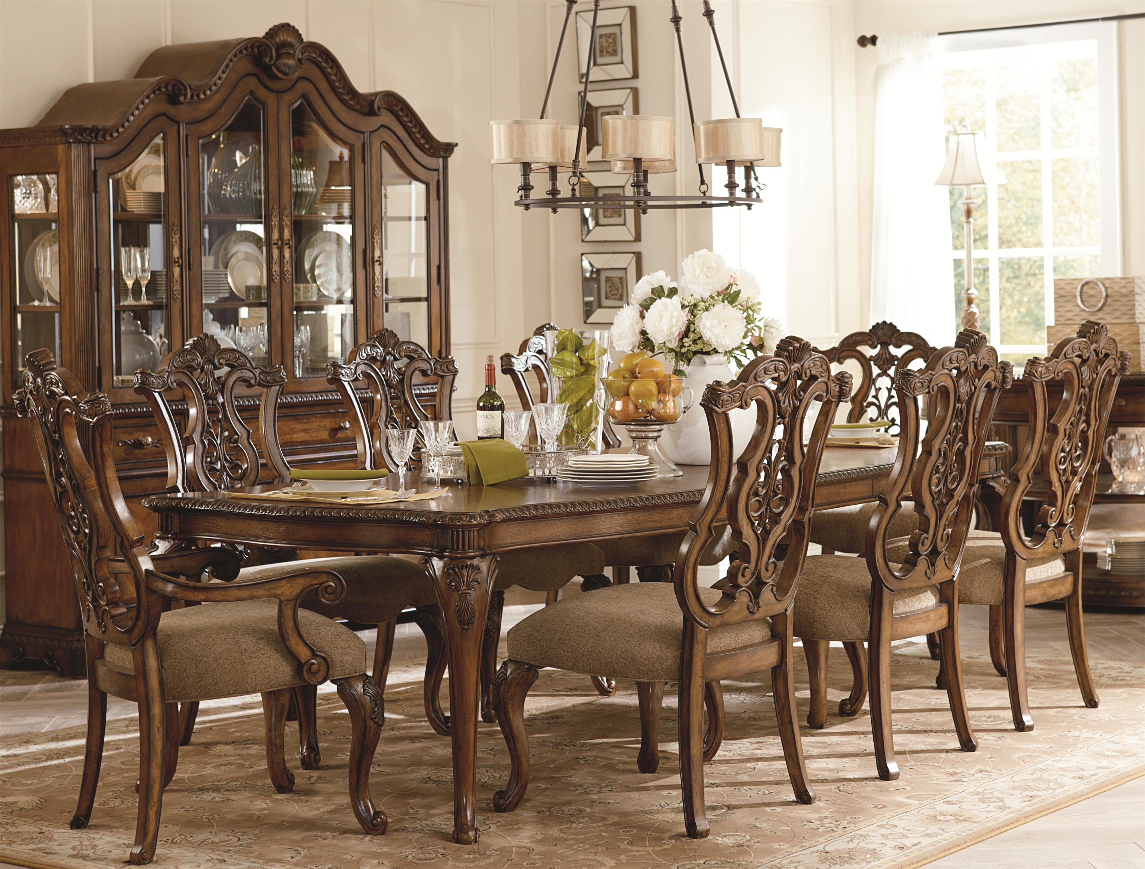 Legacy Classic Pemberleigh 9 Piece Table and Chairs Set - Item Number: 3100-222+6x140 KD+2x141 KD