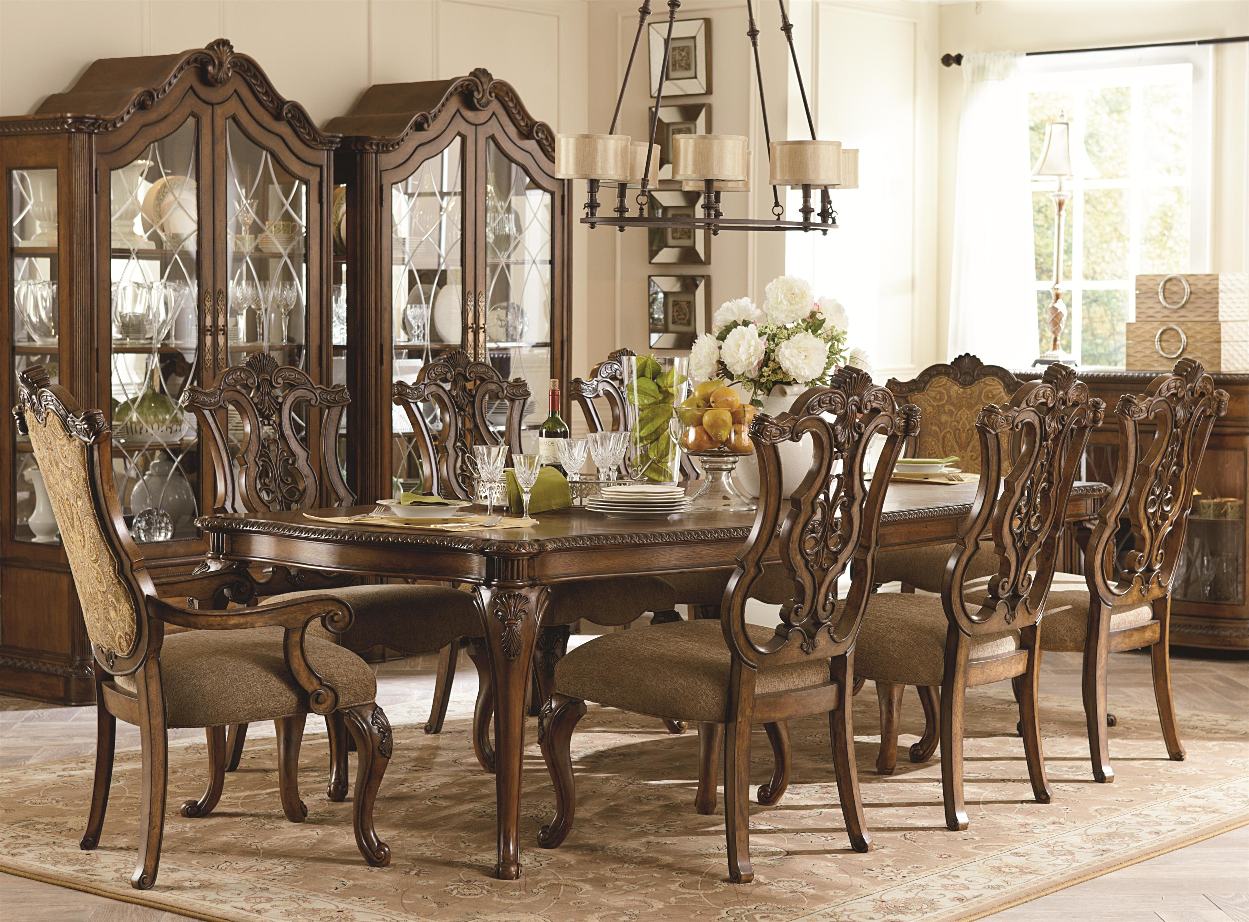 Legacy Classic Pemberleigh 9 Piece Table and Chairs Set - Item Number: 3100-222+6x140 KD+2x341 KD