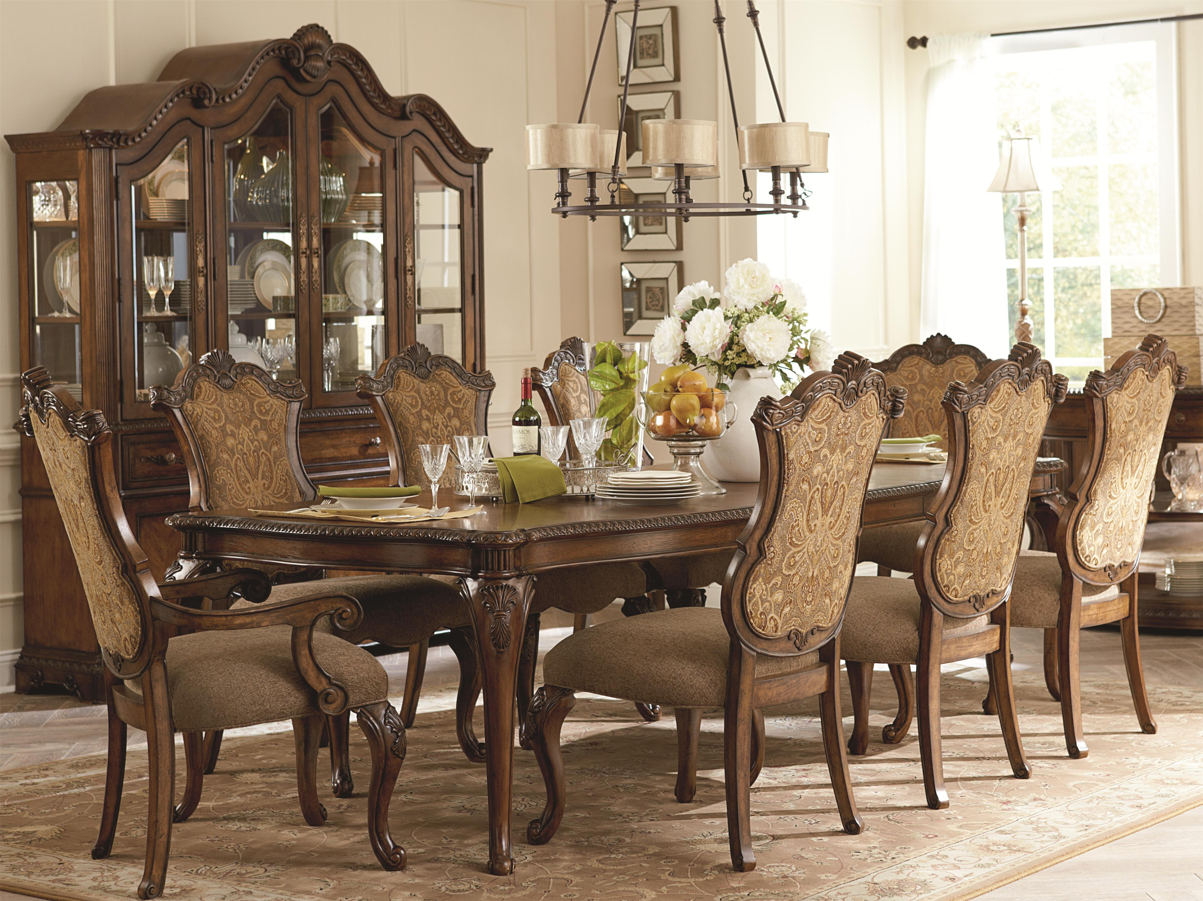 Legacy Classic Pemberleigh 9 Piece Table and Chairs Set - Item Number: 3100-222+6x340 KD+2x341 KD