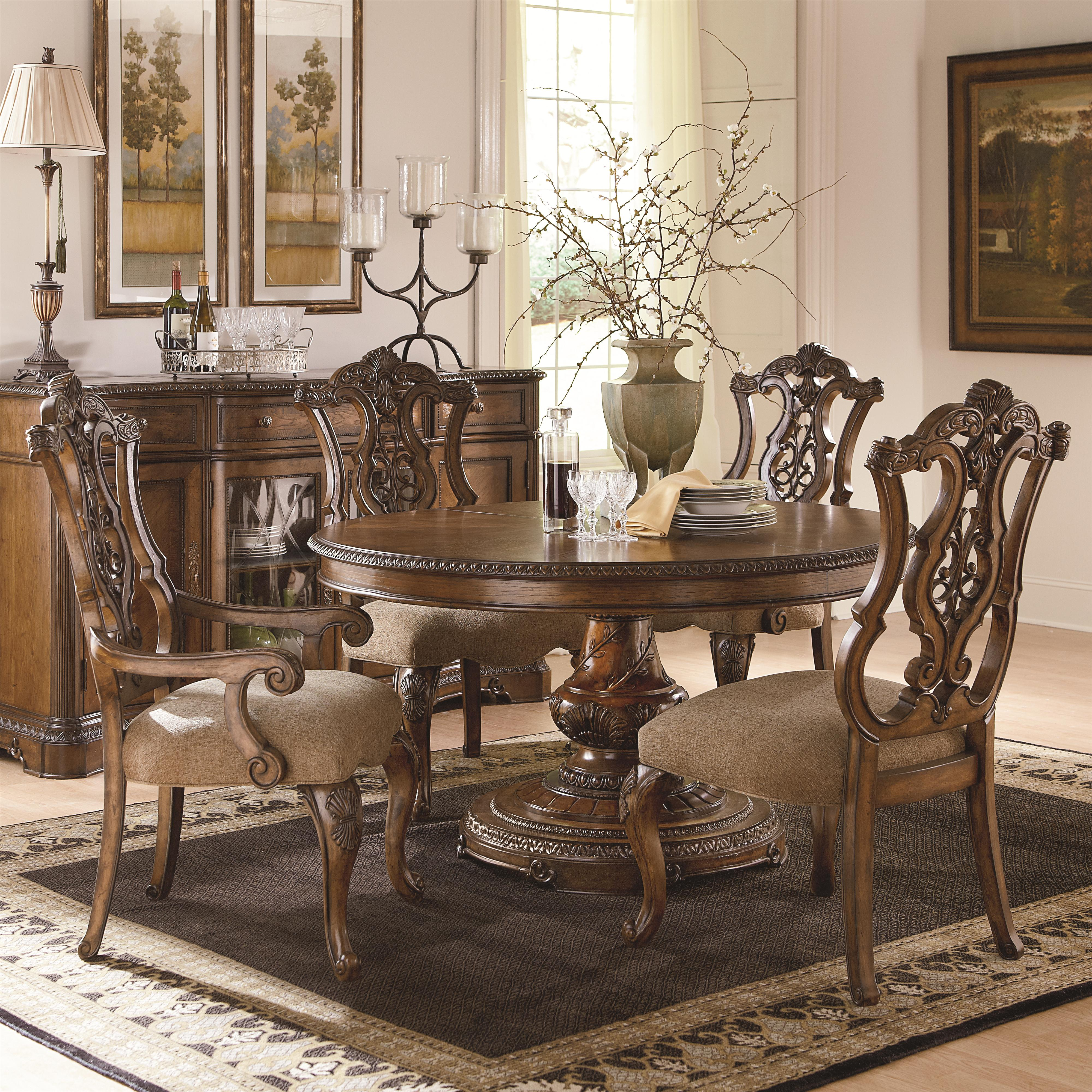 Legacy Classic Pemberleigh 5 Piece Table and Chairs Set - Item Number: 3100-521K+2x140 KD+2x141 KD