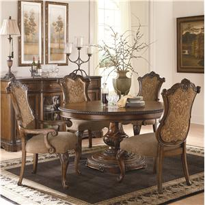 Pemberleigh 5 Piece Table and Chairs Set with Single Pedestal Table and Upholstered Chairs by Legacy Classic