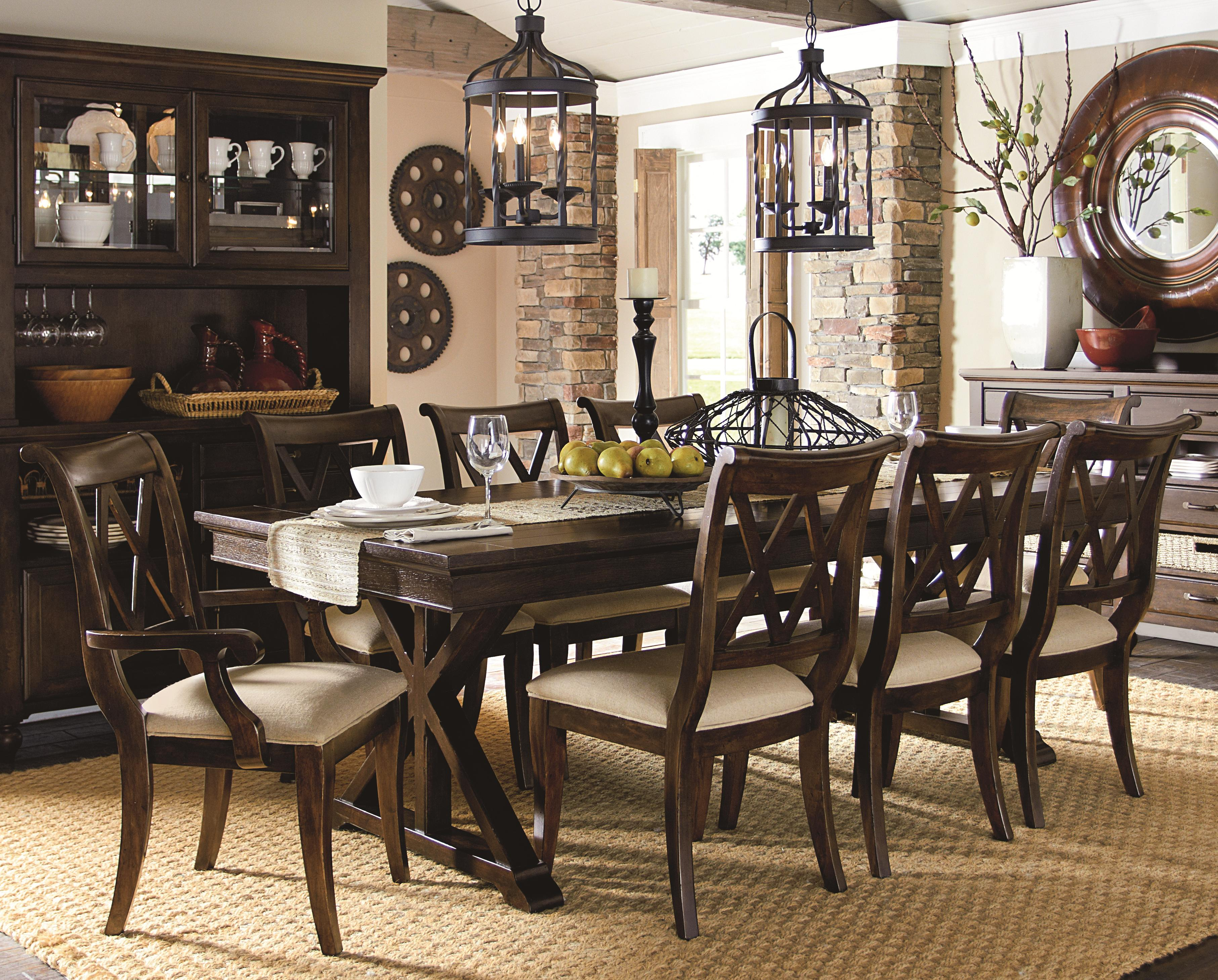 Legacy Classic Thatcher 9 Piece Dining Set with X Back Chairs ...