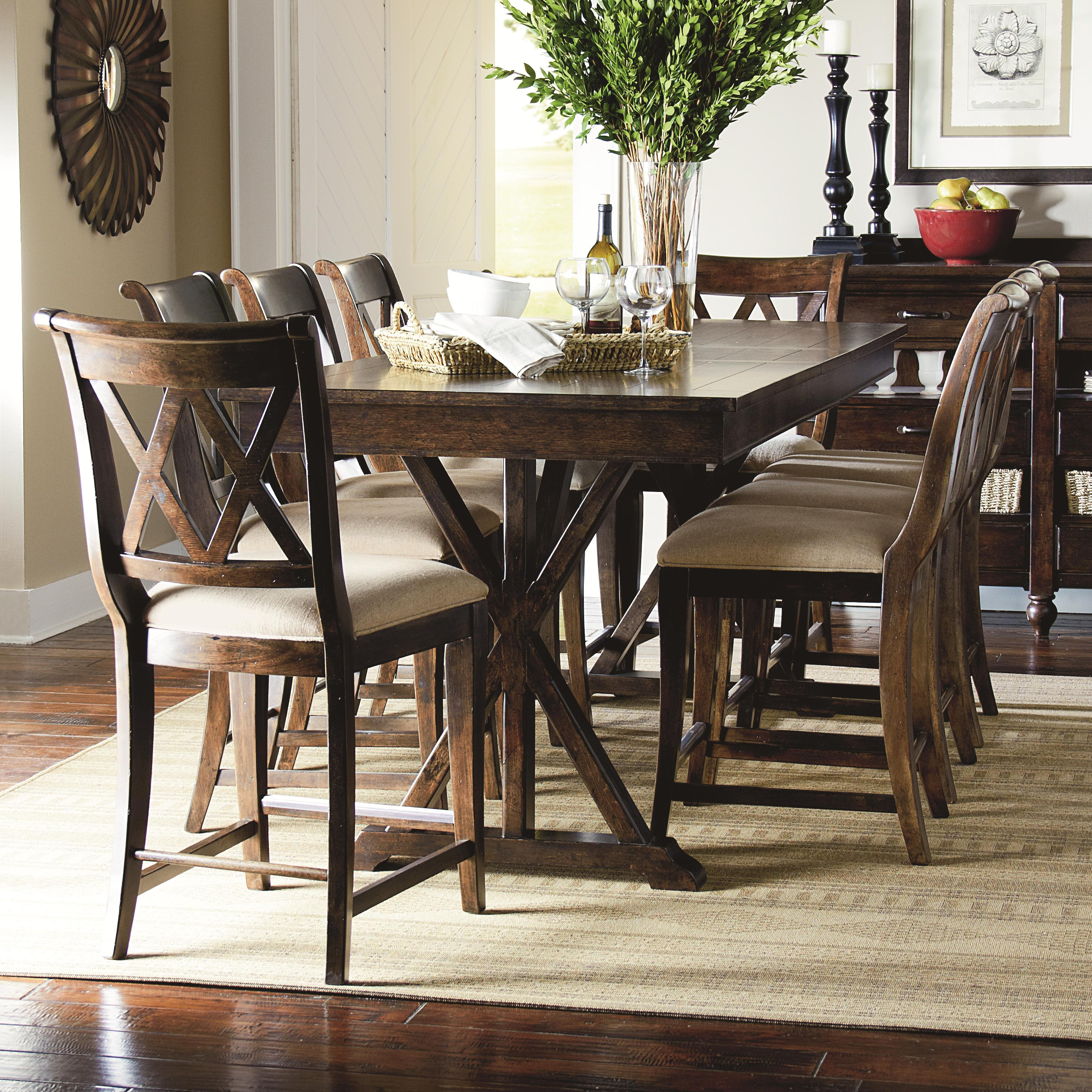 9 Piece Pub Dining Set With X Shaped Details