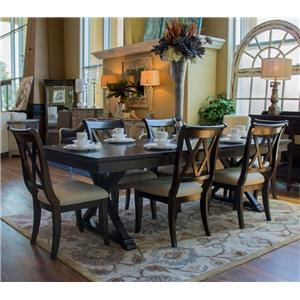 Legacy Classic Thatcher Trestle Table & 6 Double X-Back Side Chairs
