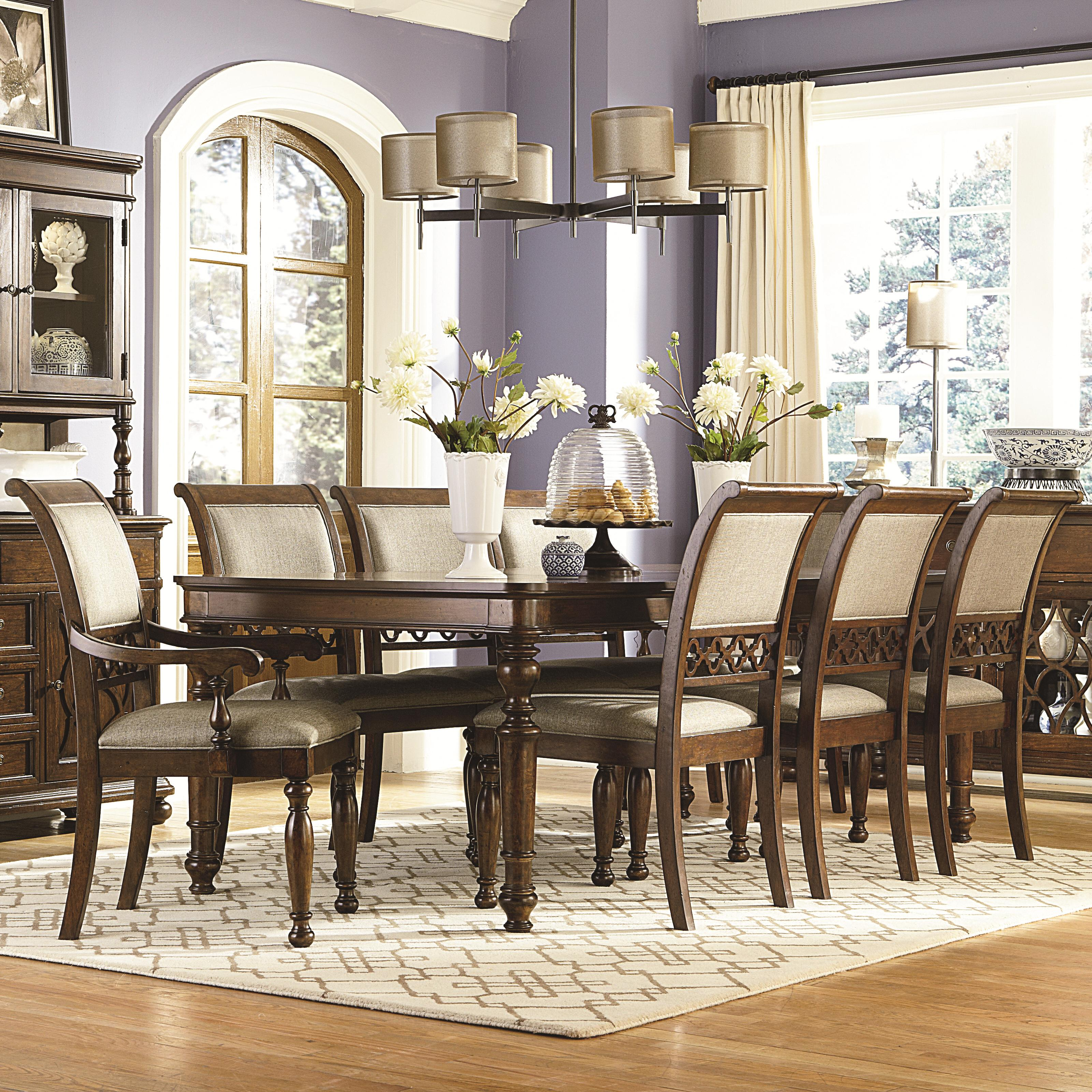 Legacy Classic Thornhill 9 Piece Rectangular Table With Legs And  Upholstered Chairs Set   AHFA   Dining 7 (or More) Piece Set Dealer Locator