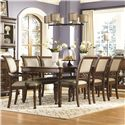 Legacy Classic Thornhill  9 Piece Rectangular Table with Legs and Upholstered Chairs Set - 3305-221+2x341 KD+6x340 KD