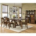 Legacy Classic Woodland Ridge Dining Credenza & Hutch with Storage - Shown with Trestle Dining Table and Ladder Back Chairs