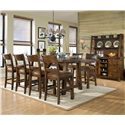 Legacy Classic Woodland Ridge Dining Credenza & Hutch with Storage - Shown with Trestle Pub Table and Ladder Back Pub Chairs
