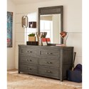 Legacy Classic Kids Bunkhouse Rustic Casual Dresser and Mirror with Barn Door Style Sides