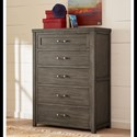 Legacy Classic Kids Bunkhouse Casual Rustic Drawer Chest with Barn Door Style Sides