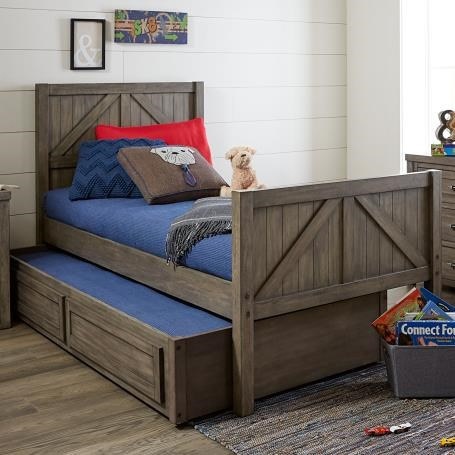Twin Panel Bed with Trundle Storage Drawer