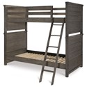 Legacy Classic Kids Bunkhouse Rustic Casual Twin over Twin Bunk Bed with Ladder and Guard Rails