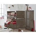 Legacy Classic Kids Bunkhouse Rustic Casual Twin over Full Bunk Bed with Underbed Storage Unit