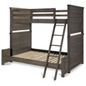 Legacy Classic Kids Bunkhouse Rustic Casual Twin over Full Bunk Bed with Ladder and Guard Rail