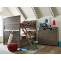 Legacy Classic Kids Bunkhouse Rustic Casual Full over Full Bunk Bed with Trundle Storage Drawer