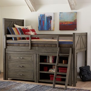 Twin Mid Loft Bed with Dresser and Bookcase
