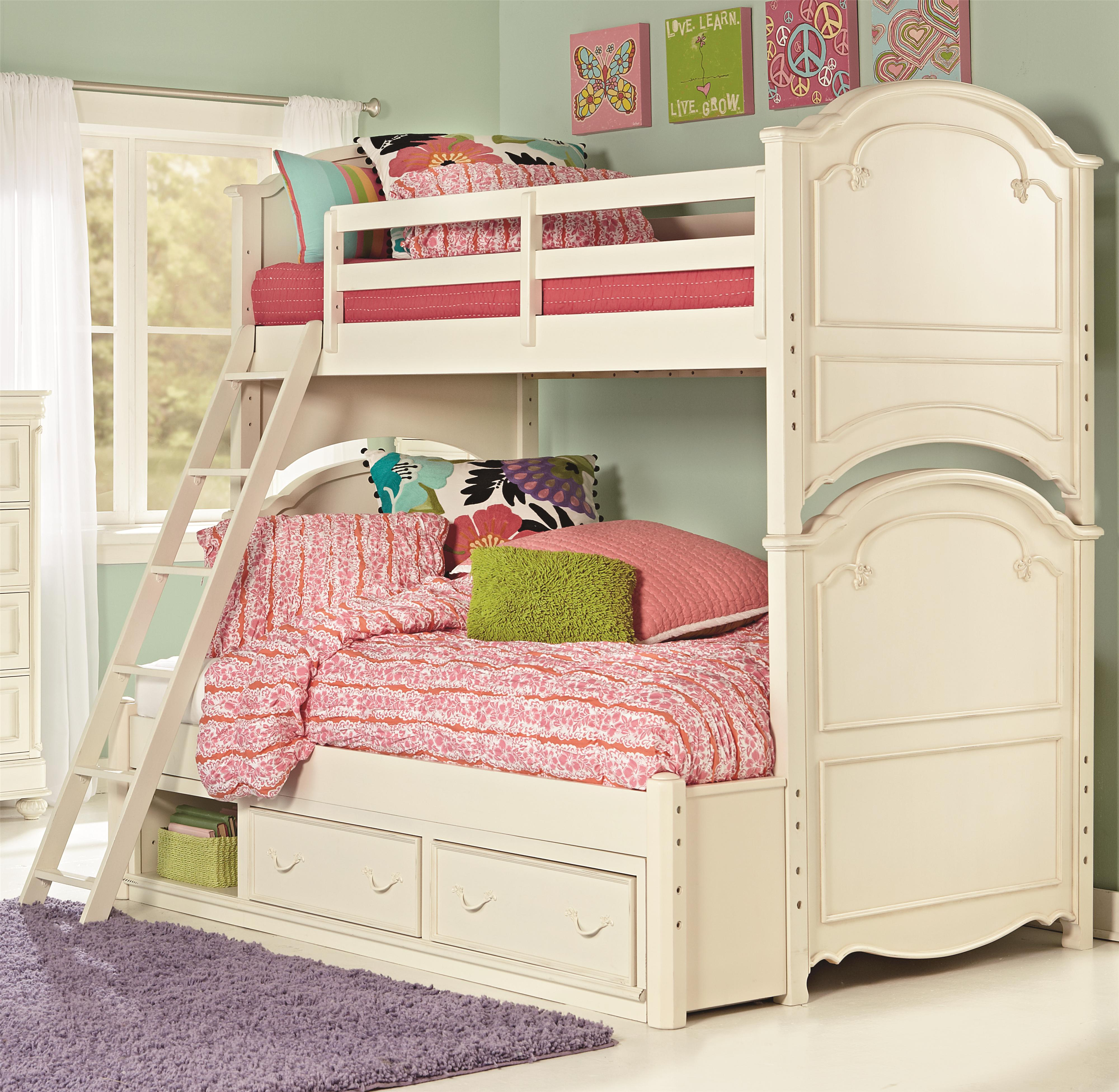 Legacy Classic Kids Charlotte Twin Over Full Bunk Bed with Storage - Item Number: 36850-8140K+9300