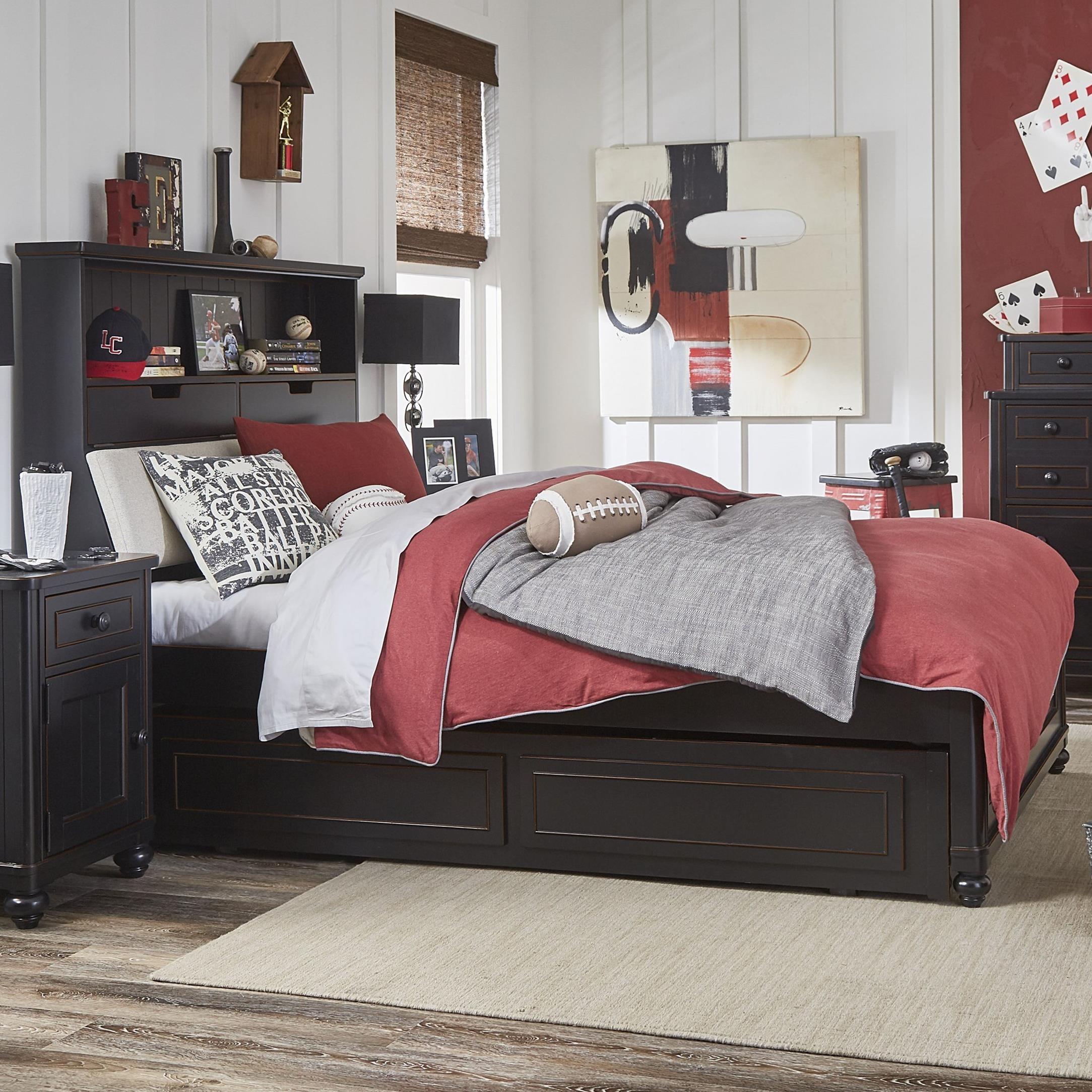 Full Upholstered Bookcase Bed